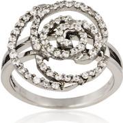 Δαχτυλίδι Λουλούδι Λευκό Χρυσό 14 Καρατίων Κ14 με Πέτρες Ζιργκόν, 022576