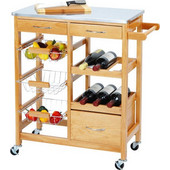 Ξύλινο Καρότσι Κουζίνας για την Οργάνωση και Μεταφορά αντικειμένων και τροφίμων 66x84x36cm, Excellent Houseware D4010170 - Excellent Houseware - 00010828