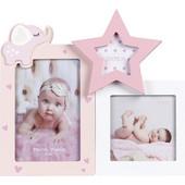 ΠΟΛΥΚΟΡΝΙΖΑ MDF PHOTO FRAMES BABY GIRL ΡΟΖ 26.5X21CM