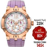 Vogue Elegance Purple Leather Rose Gold Multifunctional 16001/14