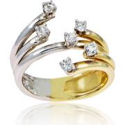 Δαχτυλίδι Γυναικείο Κίτρινο και Λευκό Χρυσό 14 Καρατίων (Κ14) με Ζιργκόν, 000799