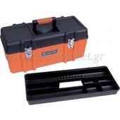 Tactix - Εργαλειοθήκη πλαστική με ένα αποσπώμενο ράφι & μεταλλικά κλιπς 321106