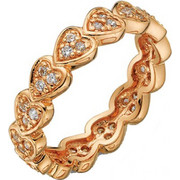 Δαχτυλίδι Vogue Sweethearts ρόζ χρυσό ασήμι 925 με ζιργκόν