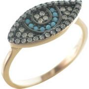 Δαχτυλίδι ματάκι από ρόζ επιχρυσωμένο ασήμι με πέτρες τυρκουάζ