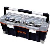Tactix - Εργαλειοθήκη πλαστική με ένα αποσπώμενο ράφι, 2 ταμπακιέρες & κλιπς αλουμινίου 320312