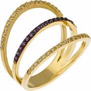 Δαχτυλίδι τριπλό από χρυσό 14 καρατίων με λευκά και μωβ ζιρκόν. LS16573