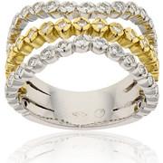 Δαχτυλίδι Κίτρινο και Λευκό Χρυσό 18 Καρατίων Κ18 με Διαμάντια Μπριγιάν, 000844