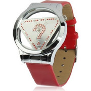 Stylish Question Mark Style Quartz Wrist Watch Wristwatch with Leather Band (Red) SK294519