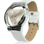 Stylish Question Mark Style Quartz Wrist Watch Wristwatch with Leather Band (White) SK294553