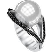 Ασημένιο δαχτυλίδι 925 με λευκή πέρλα Swarovski και μαύρες πέτρες Swarovski AD-16092BL