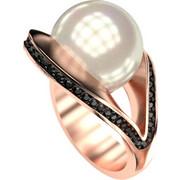 Ασημένιο δαχτυλίδι 925 με λευκή πέρλα Swarovski και μαύρες πέτρες Swarovski AD-16092BR