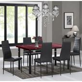 Σέτ Τραπεζαρία γυάλινη μπορντώ κυρτή με 6 μαύρες καρέκλες