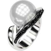 Ασημένιο δαχτυλίδι 925 με λευκή πέρλα Swarovski και μαύρες πέτρες Swarovski AD-16092AL