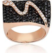 Δαχτυλίδι Σεβαλιέ Ροζ Χρυσό 18 Καρατίων Κ18 με Διαμάντια Μπριγιάν, 021965