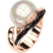 Ασημένιο δαχτυλίδι 925 με λευκή πέρλα Swarovski και μαύρες πέτρες Swarovski AD-16092AR