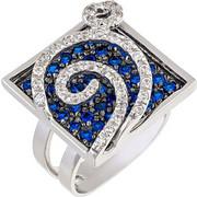 Δαχτυλίδι τετράγωνο από λευκό χρυσό 18 καρατίων με μπλε και λευκά ζιρκόν. KD00312