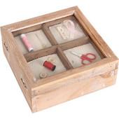 Κουτί αποθήκευσης ειδών ραπτικής 20Χ20Χ8, 5 εκ. ξύλινο