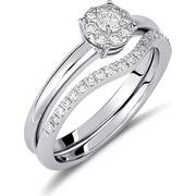 Δαχτυλίδι ροζέτα από λευκό χρυσο 18 καρατίων με ένα κεντρικό διαμάντι, 8 διαμάντια περιμετρικά και διαμάντια στο πλάι. DD14538