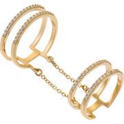 Δαχτυλίδι από χρυσό 14 καρατίων και ζιρκόν. Το ένα μέρος φοριέται κανονικά και το άλλο στην μέση του δακτύλου. Τα δύο μέρη είναι ενωμένα με αλυσίδα. PS15611