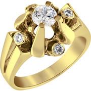 Μονόπετρο δαχτυλίδι Κ18 χρυσό με διαμάντι κοπής brilliant - MBR097G