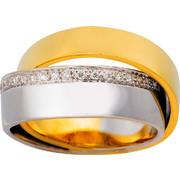 Διπλό Δαχτυλίδι Κίτρινο και Λευκό Χρυσό 18 Καρατίων με Διαμάντια Μπριγιάν, 008200