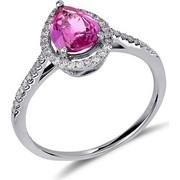 Δαχτυλίδι δάκρυ από λευκό χρυσό 18 καρατίων με ρουμπίνι και διαμάντια περιμετρικά και στην γάμπα. KV16243
