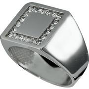 Δαχτυλίδι Σεβαλιέ Λευκό Χρυσό 14 Καρατίων Κ14 με Πέτρες Ζιργκόν, 016696