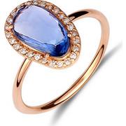 Δαχτυλίδι από ροζ χρυσό 18 καρατίων με ζαφείρι και διαμάντια. HR15116