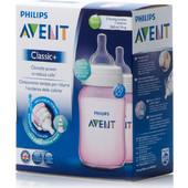 AVENT - 2 Classic+ Πλαστικά Μπιμπερό Ρόζ 1m+ - 260ml 564/27