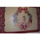Χριστουγεννιάτικος ξύλινος δίσκος ζωγραφισμένος στό χέρι (decoupage) 015