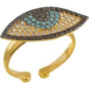 Δαχτυλίδι με ματάκι από επιχρυσωμένο ασήμι με πέτρες τιρκουάζ