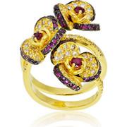 Δαχτυλίδι Κίτρινο Χρυσό 18 Καρατίων με Διαμάντια Μπριγιάν και Ρουμπίνια, 008328