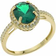 Χρυσό Δαχτυλίδι 14 Καρατίων στο Χρώμα του Σμαραγδιού rng66823karv