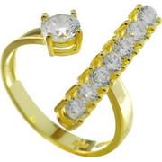 Δαχτυλίδι από επιχρυσωμένο ασήμι με πέτρες ζιργκόν