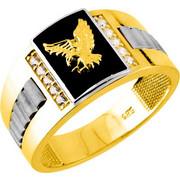 Χρυσό ανδρικό δαχτυλίδι Κ14 με όνυχα και ζιργκόν