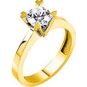 Χρυσό μονόπετρο δαχτυλίδι Κ9
