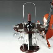 Πρωτότυπη Ξύλινη Κάβα και Βάση για 1 Φιάλη Κρασί και 6 ποτήρια