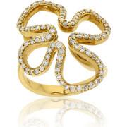 Δαχτυλίδι Λουλούδι Κίτρινο Χρυσό 18 Καρατίων Κ18 με Διαμάντια Μπριγιάν, 014336