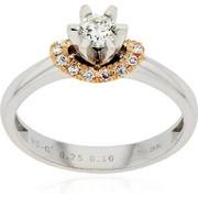 Μονόπετρο Δαχτυλίδι από Λευκό και Ροζ Χρυσό Κ18 με Διαμάντια Μπριγιάν, 030167