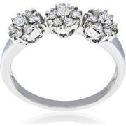 Δαχτυλίδι Τριπλή Ροζέτα Λευκό Χρυσό Κ18 με Διαμάντια Μπριγιάν, 009059
