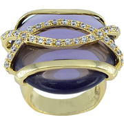Δαχτυλίδι Visetti χρυσός ορείχαλκος με λευκά και μωβ ζιργκόν