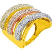 Δαχτυλίδι από ροζ, κίτρινο και λευκό χρυσό Κ14 με ζιργκόν