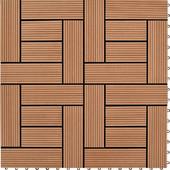 vidaXL Καφέ 11 τεμ. 30 x εκ. WPC Deck Πλακάκια 1 τμ