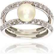 Δαχτυλίδι Λευκό Χρυσό 14 Καρατίων Κ14 με Ζιργκόν και Μαργαριτάρι, 025702