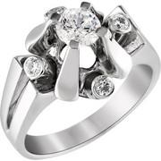 Μονόπετρo δαχτυλίδι Κ18 λευκόχρυσο με διαμάντι κοπής brilliant - MBR097