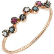 Δαχτυλίδι από ροζ χρυσό 18 καρατίων με διαμάντια και ρουμπίνια. HR09933
