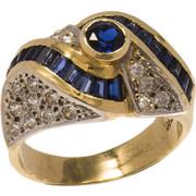 Δαχτυλίδι χρυσό και λευκόχρυσο 14 καράτια με ζιργκόν και ζαφείρι