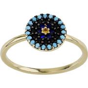 Δαχτυλίδι Κίτρινο Χρυσό 14 Καρατίων Κ14 με Ζιργκόν και Τυρκουάζ, 030859