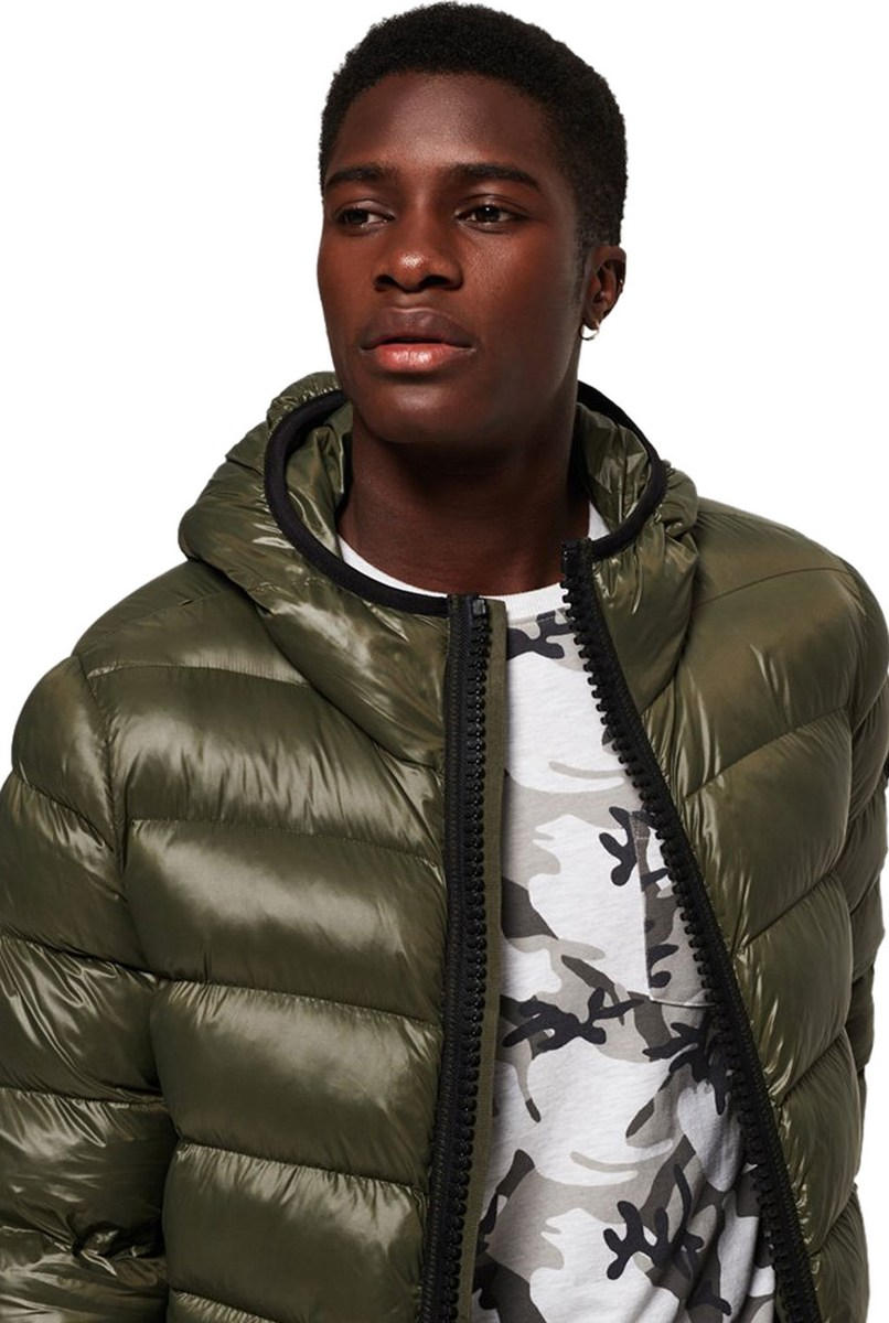 SUPERDRY M50002DR//20E Zip Hood Crater Padded Jacket Forest Green