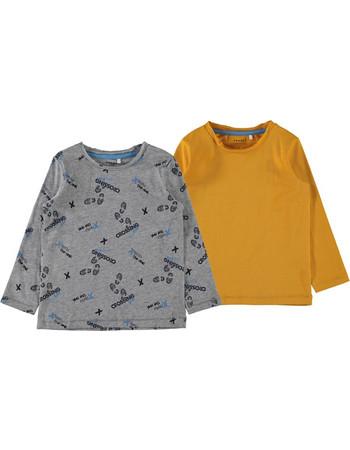 d412751b312 Σετ 2 μακρυμάνικες μπλούζες κιτρινο-γκρι Name It